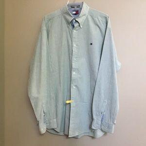 TOMMY HILFIGER green/blue seersucker shirt XL